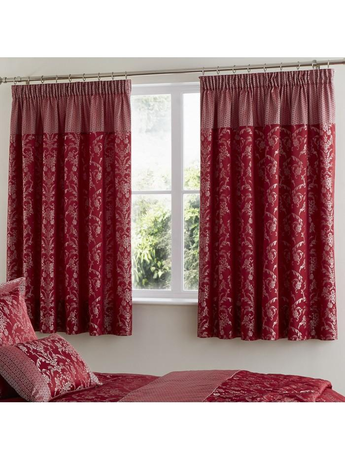 Chain Damask Curtain Red