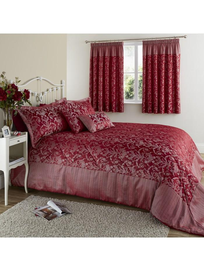 Chain Damask Bedspread Red