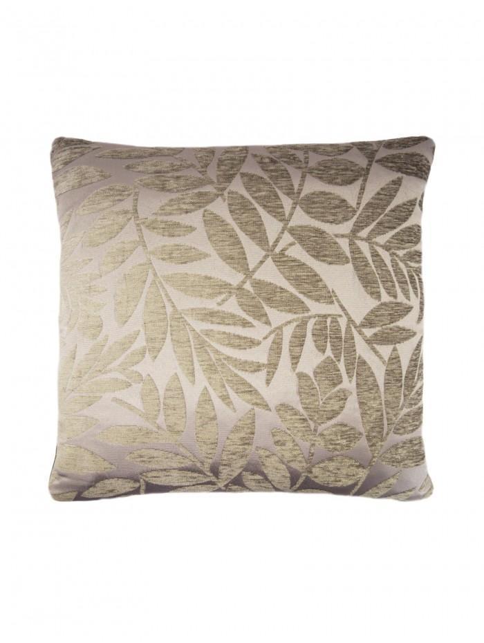 Chenille Leaf Cushion Silver