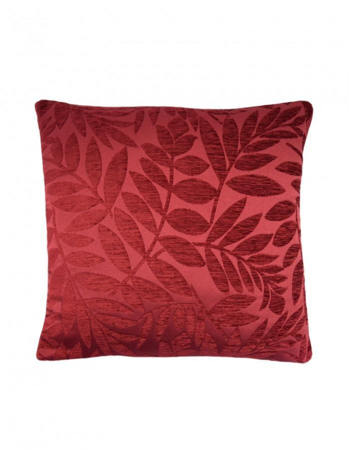 Chenille Leaf Cushion Wine