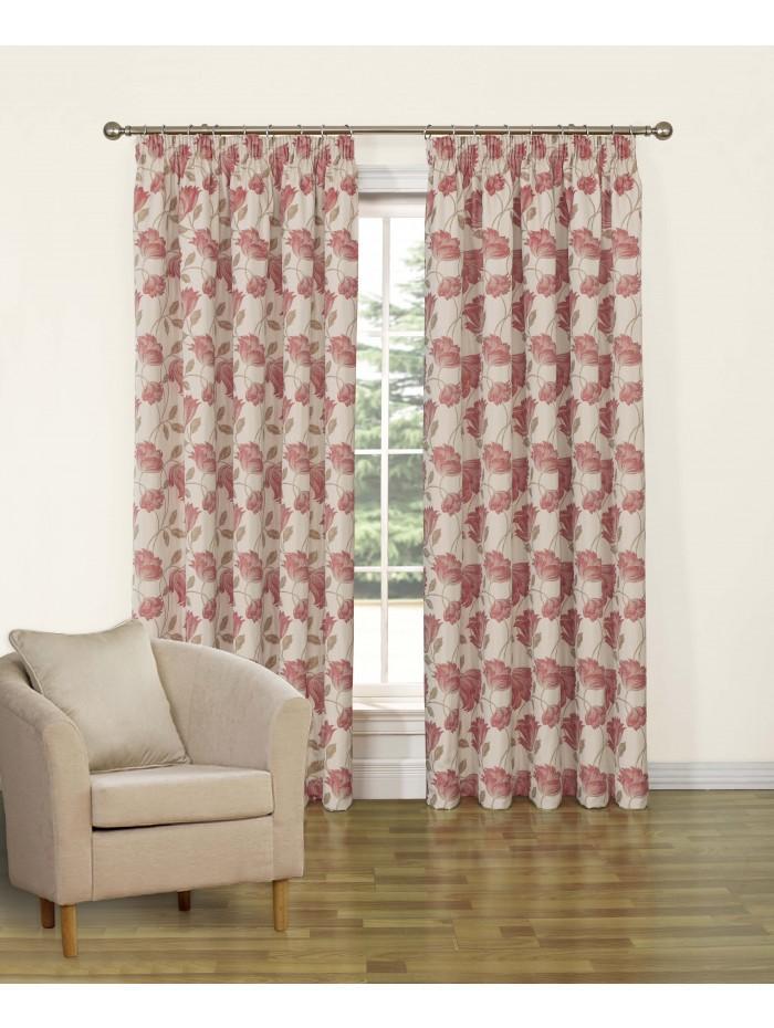 Cotswolds Pencil Pleat Curtains Rose