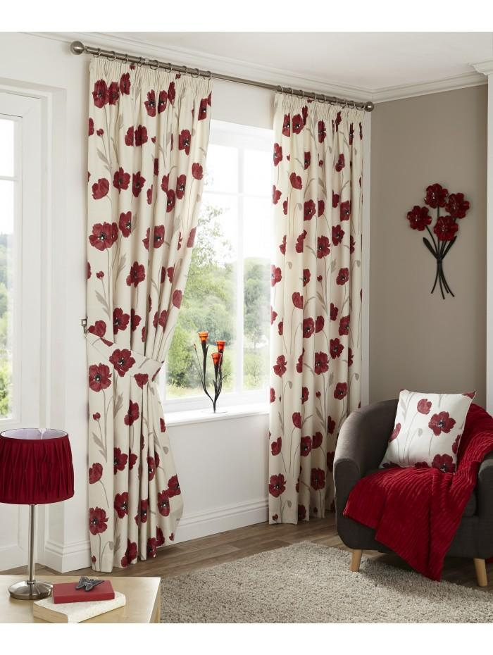 Country Poppy Pencil Pleat Curtains Red