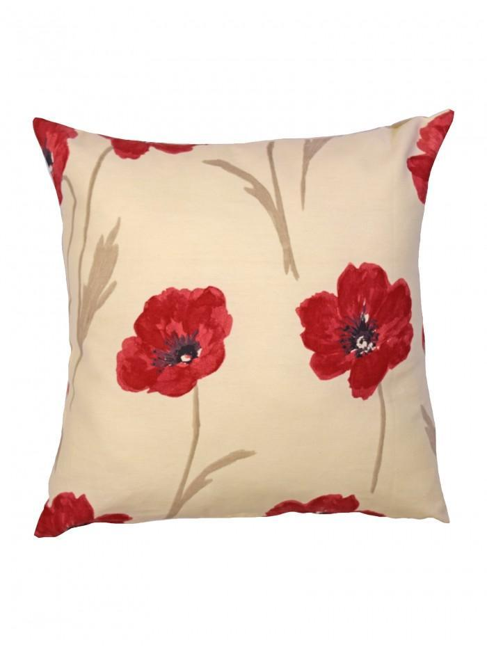Country Poppy Cushion Red