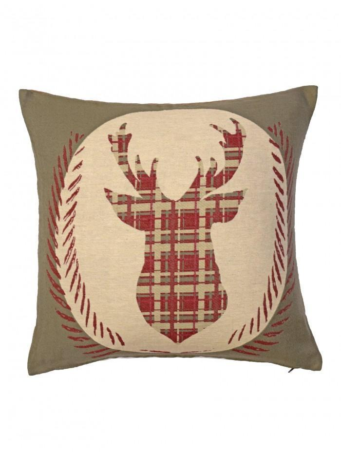 Crest Stag Tapestry Cushion Natural