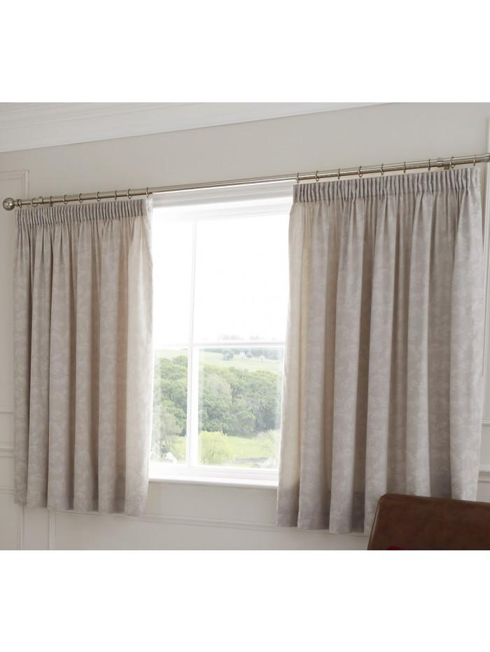 Crochet Trim Floral Jacquard Curtain Taupe