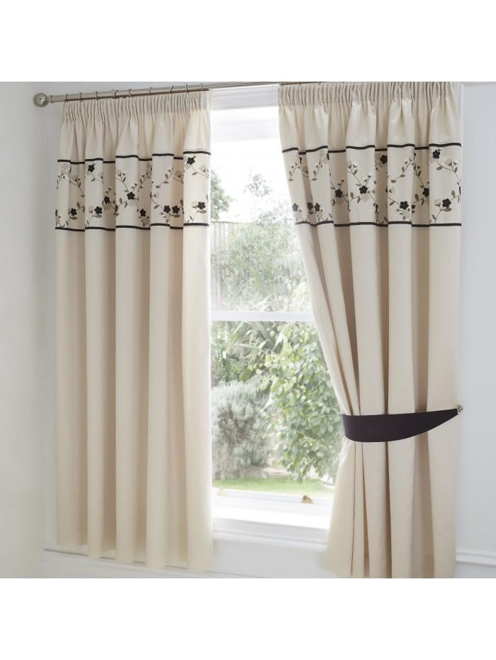 Delicate Flower Curtain Black