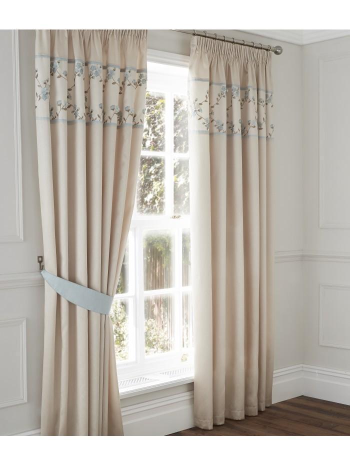 Delicate Flower Curtain Duckegg
