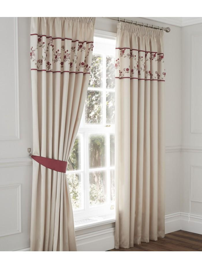 Delicate Flower Curtain Red