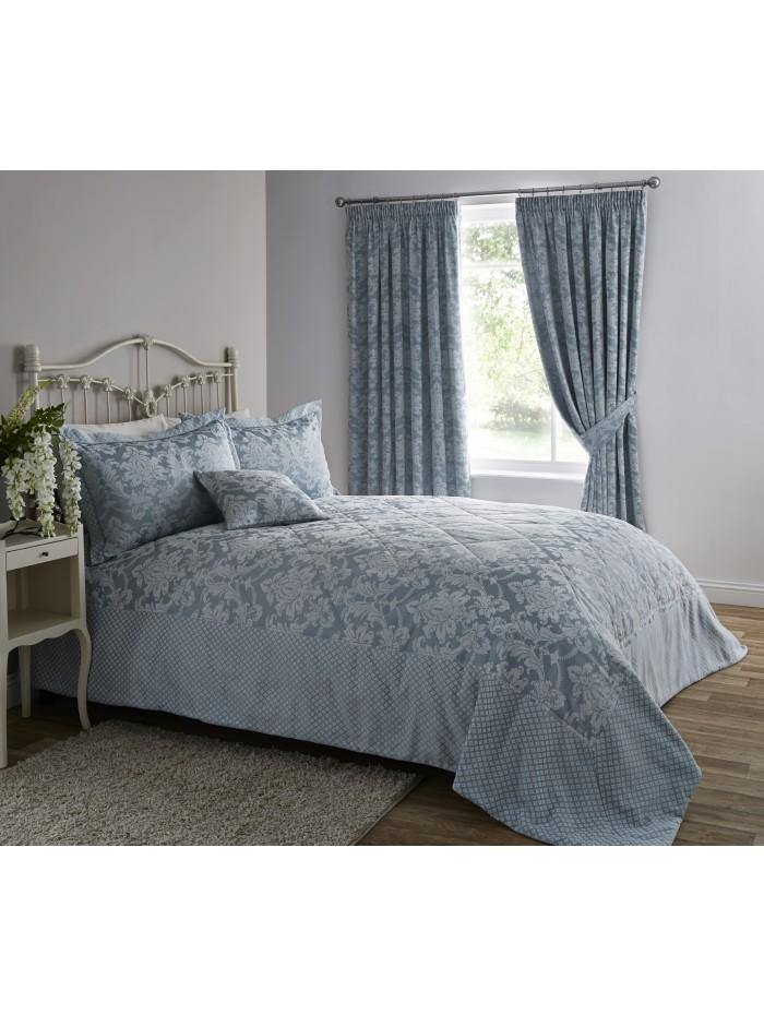 Diamond Damask Bedspread Duckegg