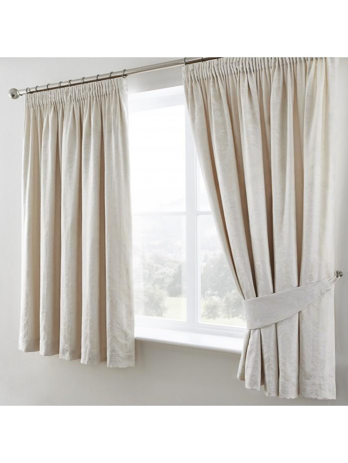 Diamond Damask Curtain Natural