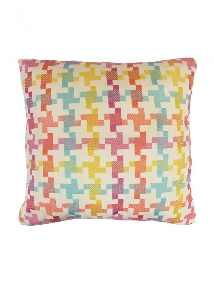 Dog Tooth Cushion Pink