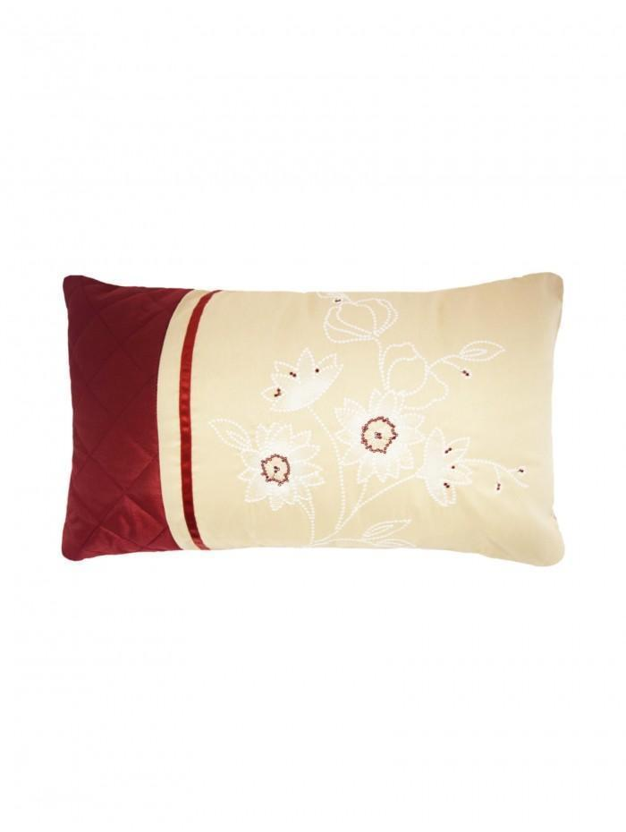 Elisa Embroidered Floral Panel Cushion Taupe