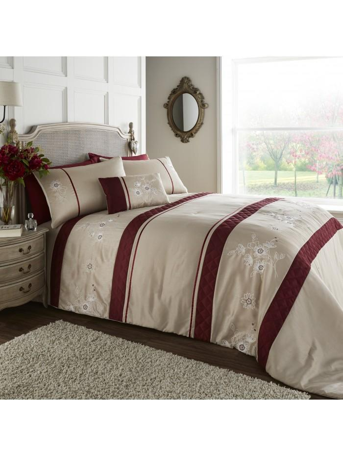 Elisa Embroidered Floral Panel Bedspread Taupe