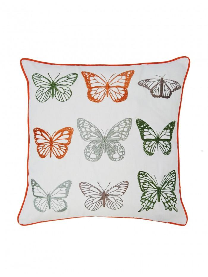Embroidered Butterflies Cushion Orange