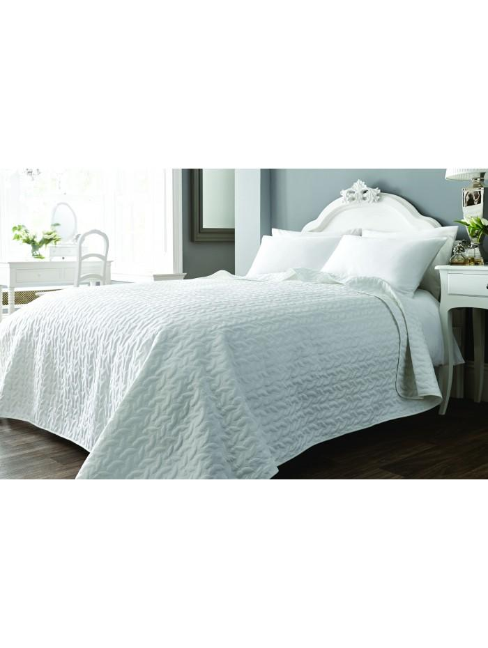 Embroidered Butterfly Bedspread White