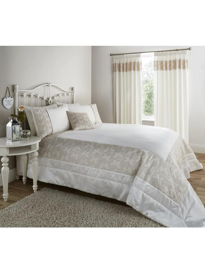 Embroidered Butterfly Panel Bedspread Natural