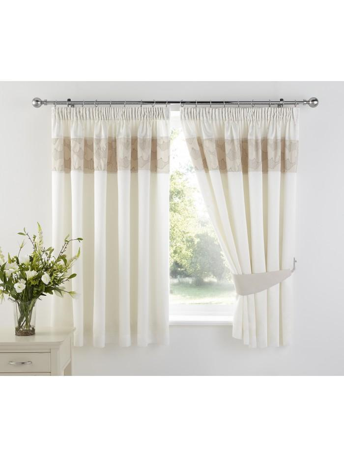 Embroidered Butterfly Panel Curtain Natural