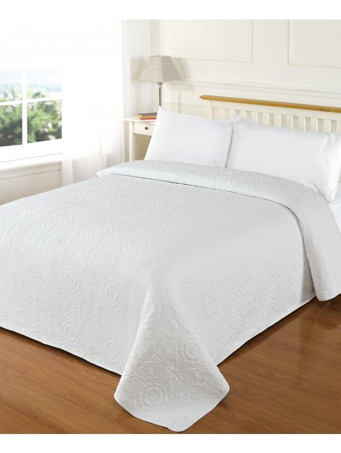 Embroidered Cotton Bedspread White