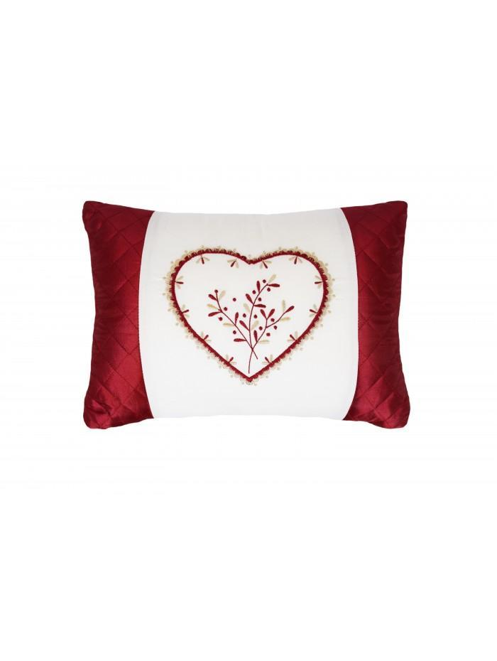 Heart Embroidered Panel Cushion Red