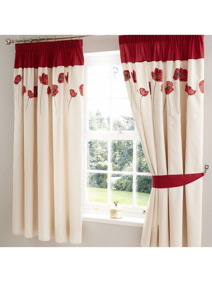 Embroidered Poppy Curtain Red