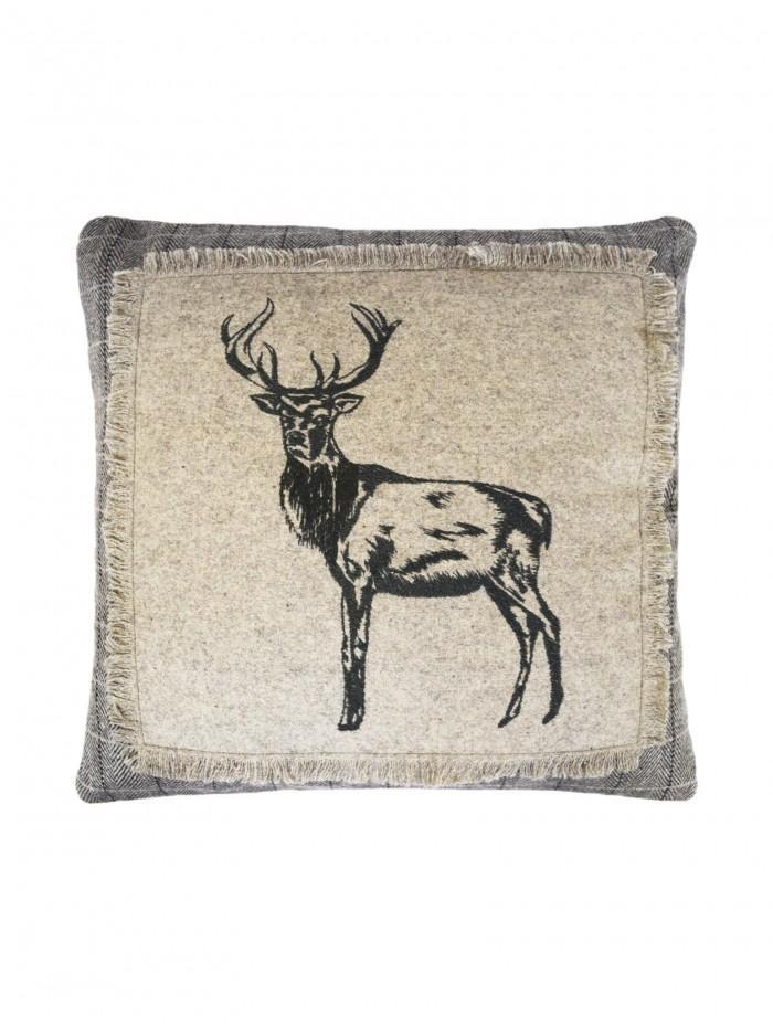 Embroidered Stag Cushion Grey