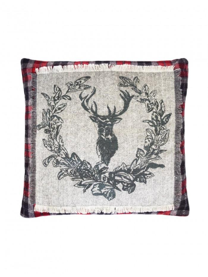 Embroidered Stag Crest Cushion Grey