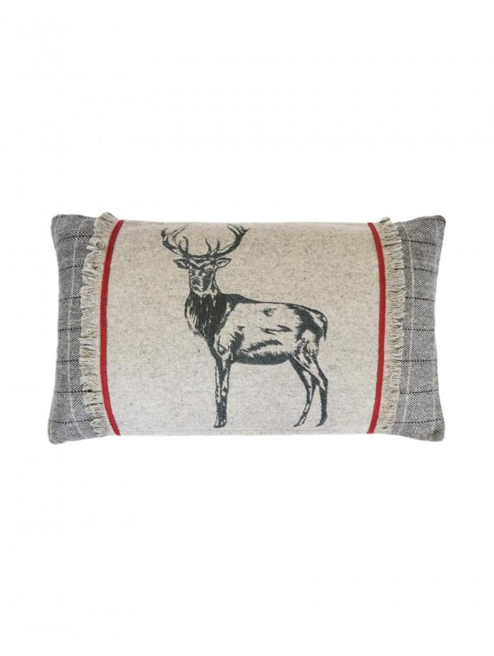 Embroidered Stag With Ribbon Cushion