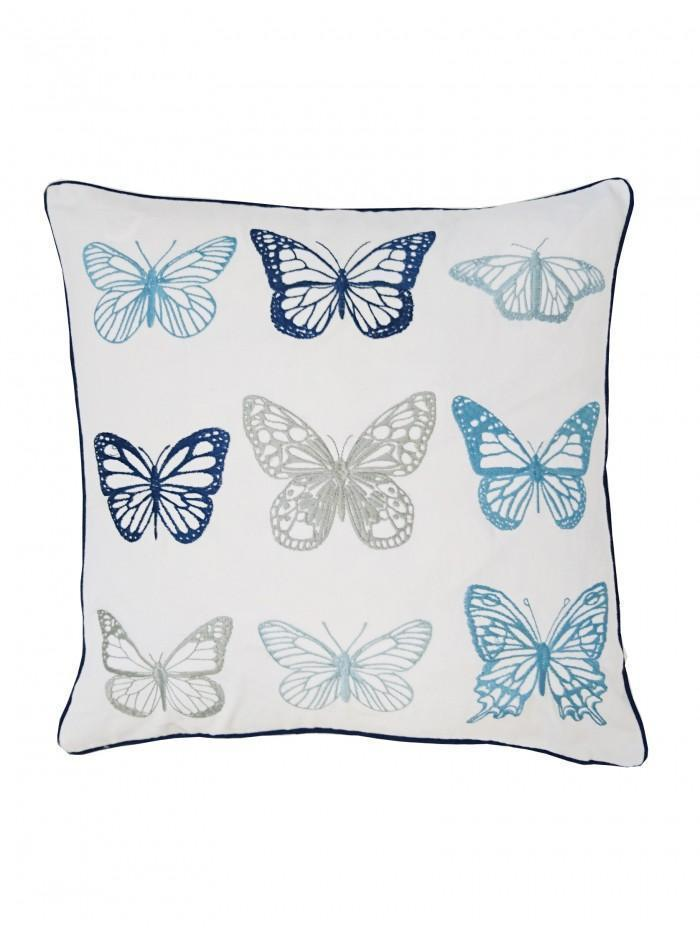 Embroidered Butterflies Cushion Duck Egg