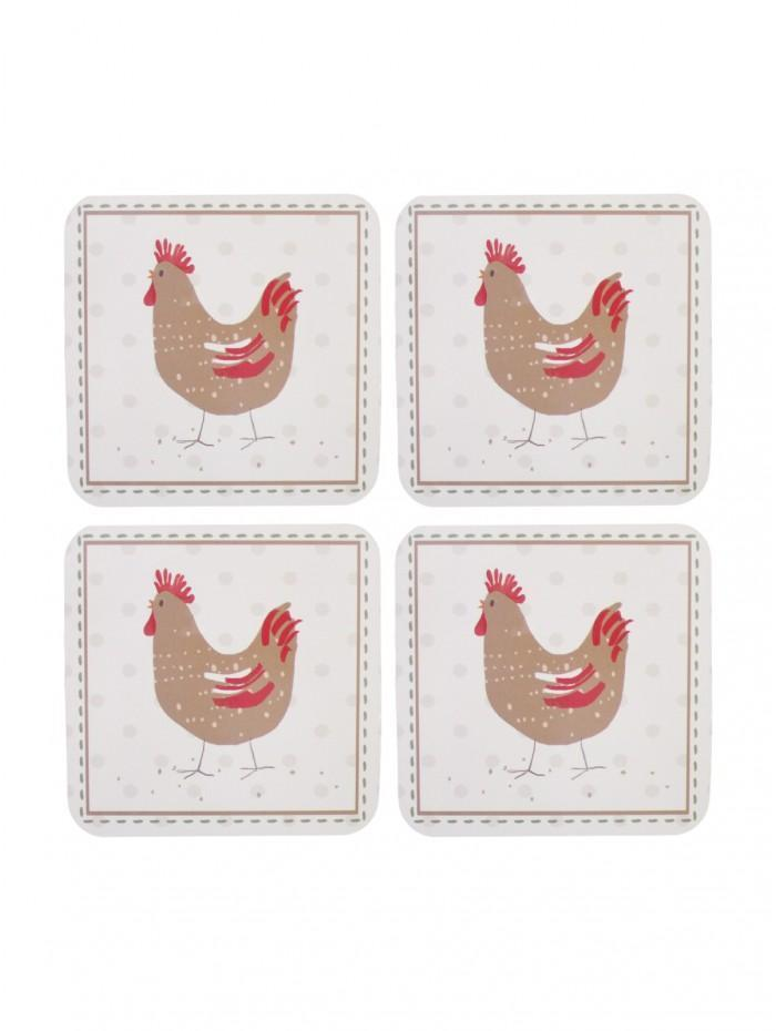 Farmhouse Chicken Cork Back Coasters 4 Pack