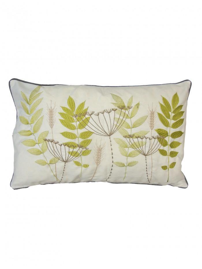 Fern Leaf Cushion Green
