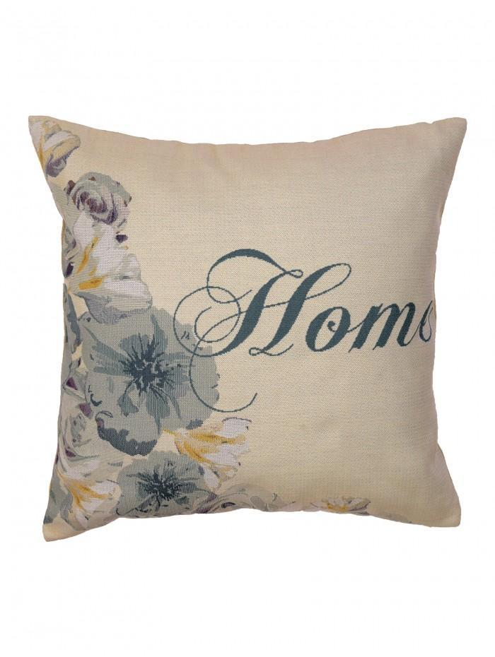 Floral Home Tapestry Cushion Duck Egg