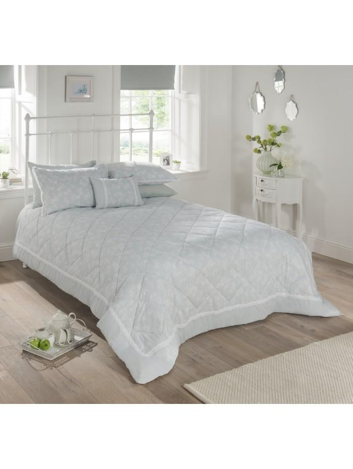 Freya Crochet Trim Bedspread Duck Egg