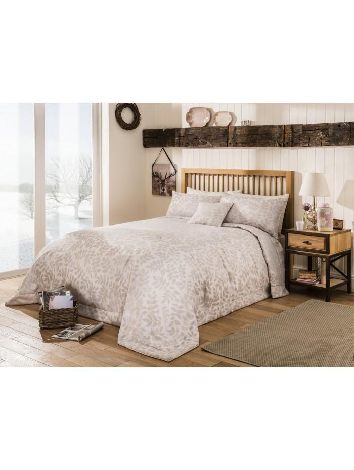 Frosted Leaf Jacquard Bedspread Natural