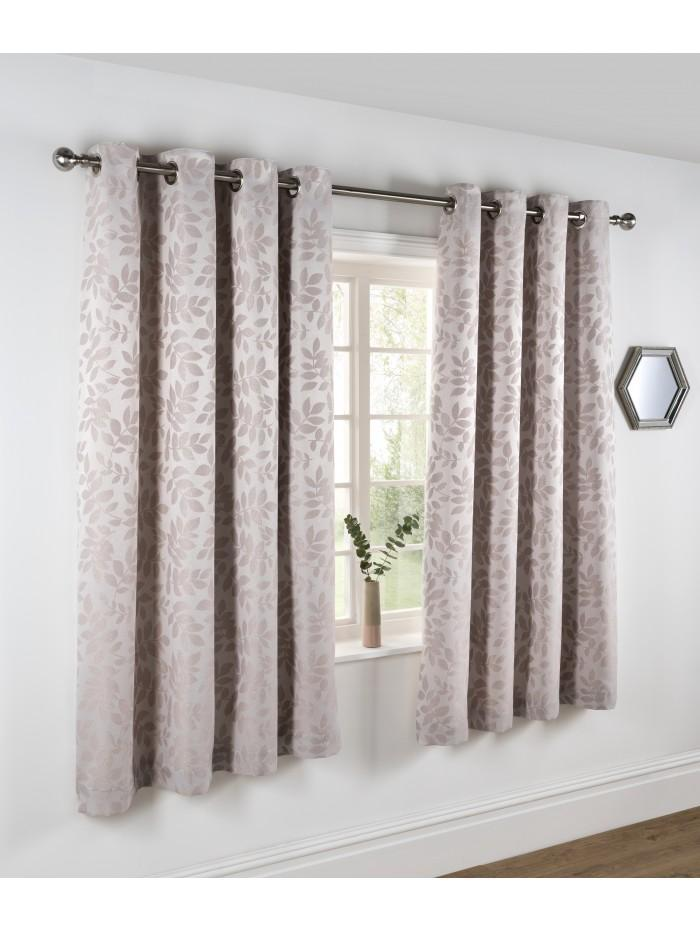 Frosted Leaf Jacquard Curtain Natural