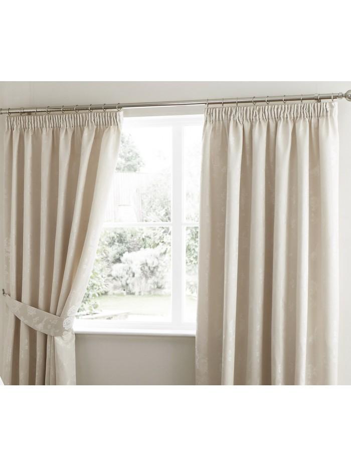 Genevieve Floral Jacquard Curtain Natural