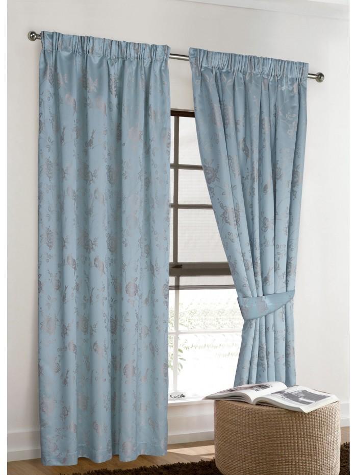 Genevieve Floral Jacquard Curtain Duckegg