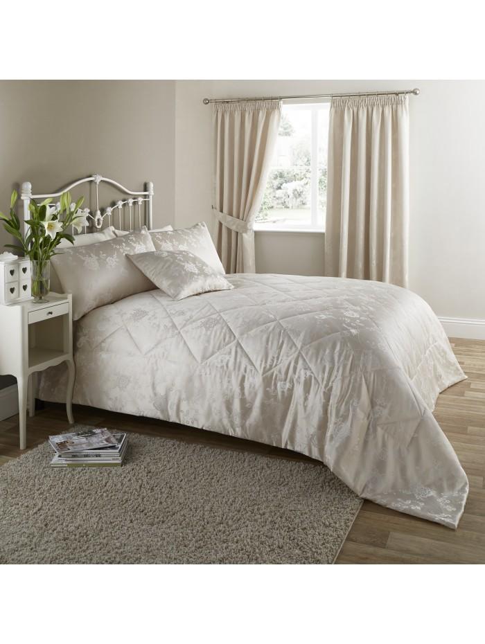 Genevieve Floral Jacquard Bedspread Natural