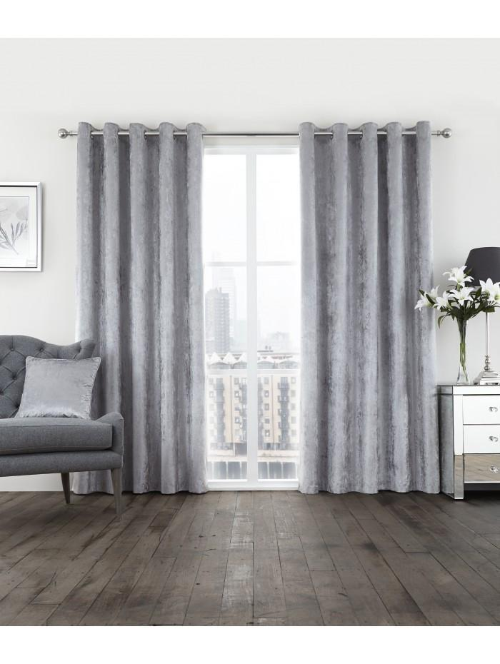 Glamour Eyelet Curtains Silver