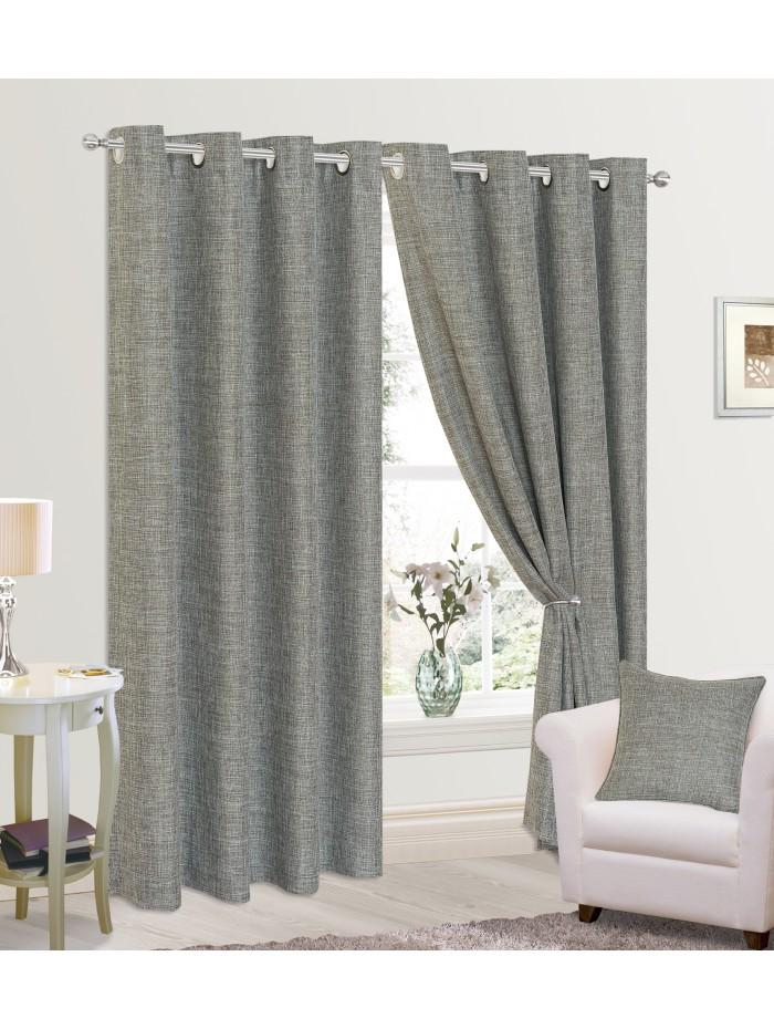 Grayson Eyelet Curtains Grey