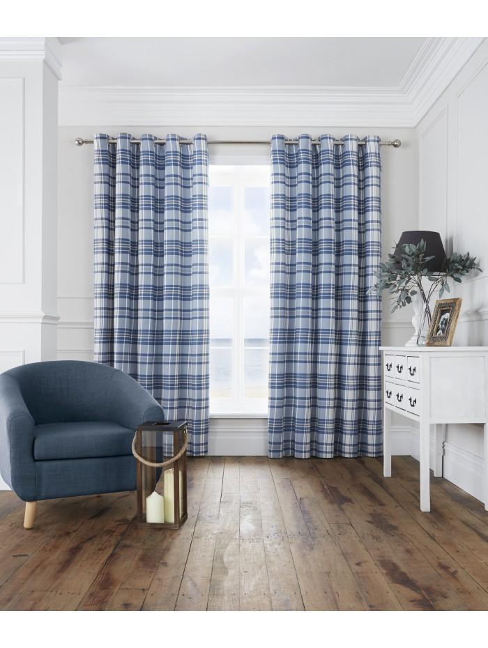 Hampton Check Eyelet Curtains Navy