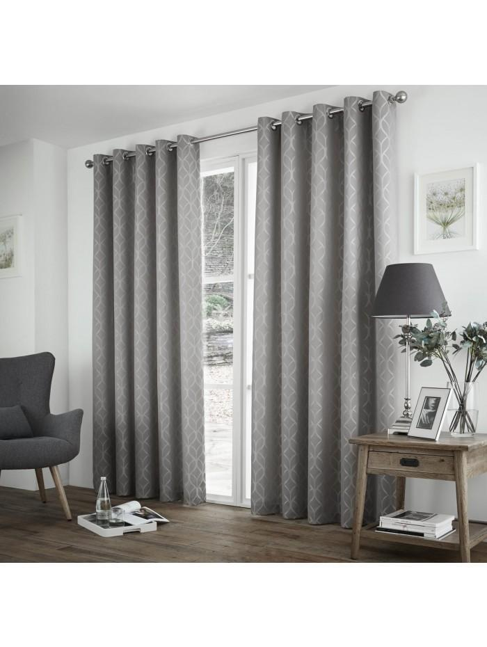 Curtina Harlow Eyelet Curtains Silver