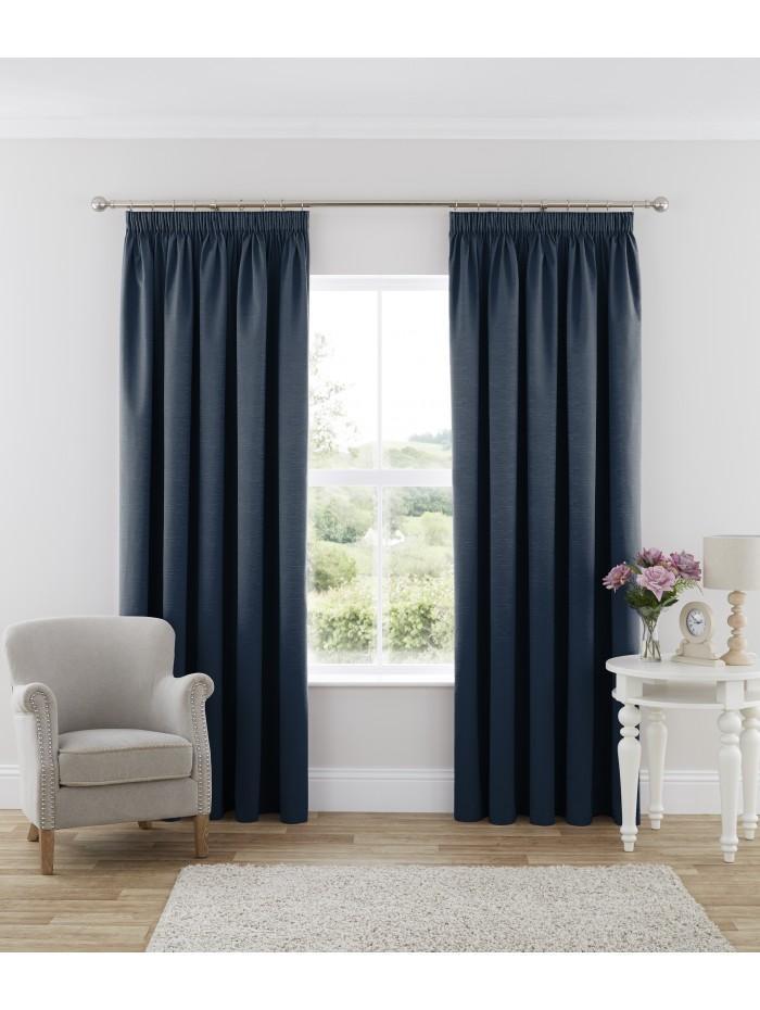 Harmony Blackout Pencil Pleat Curtains Blue