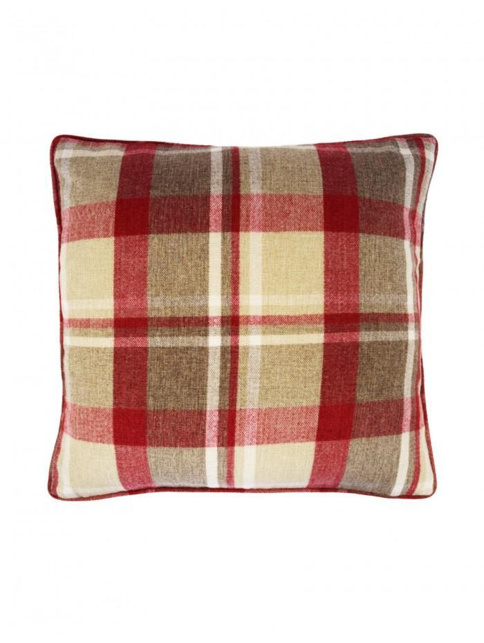 Large Harris Check Cushion Red
