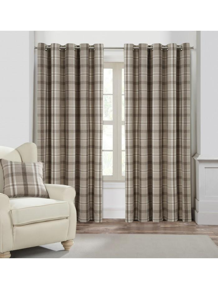 Harris Woven Check Curtains Natural