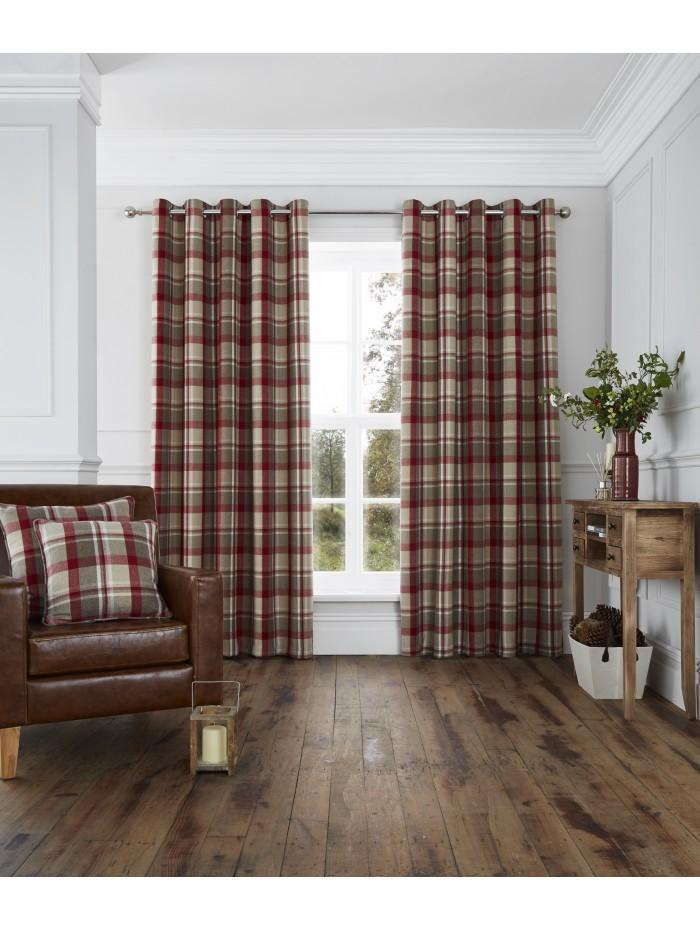 Harris Woven Check Eyelet Curtains Red