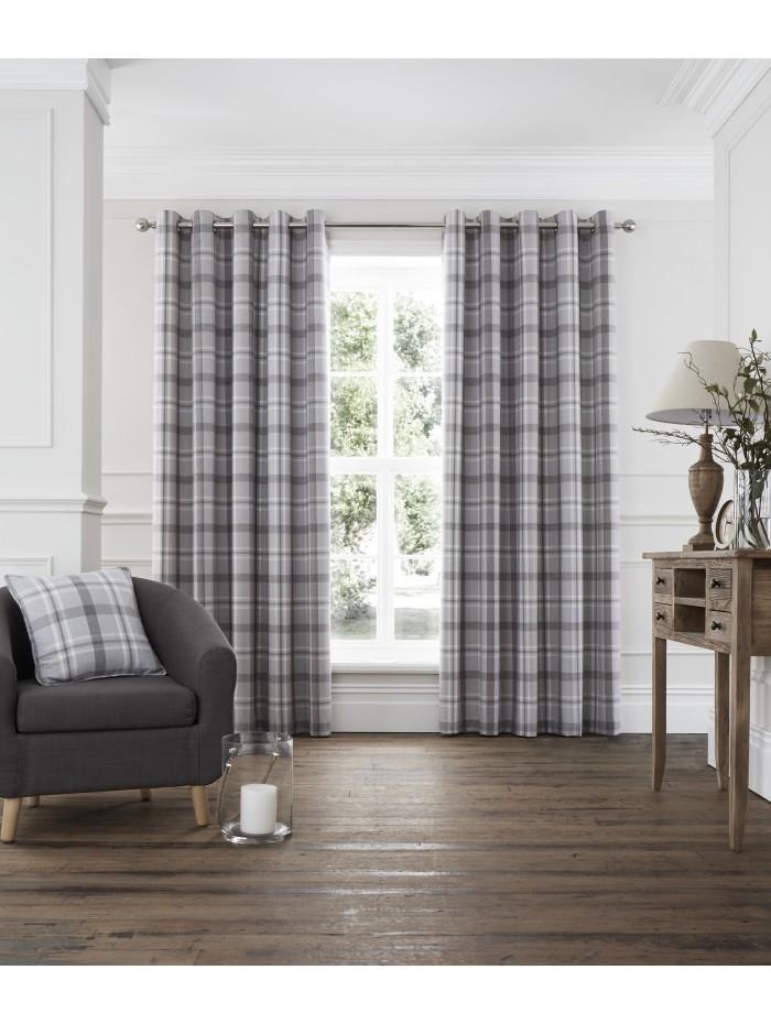Harris Woven Check Eyelet Curtains Grey