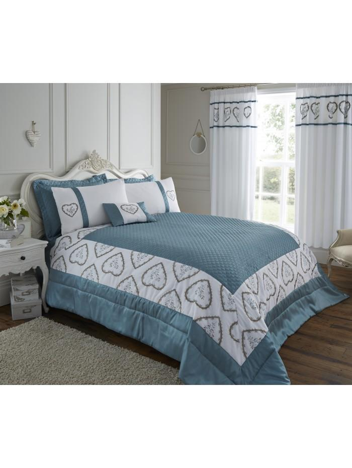 Heart Embroidered Panel Bedspread Duckegg