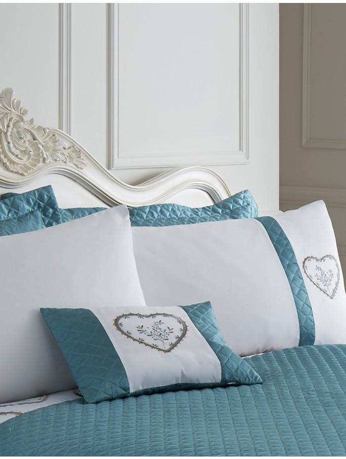 Heart Embroidered Panel Cushion Duckegg