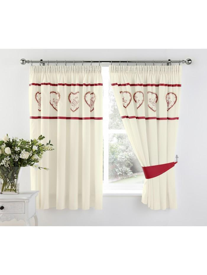 Heart Embroidered Panel Curtain Red