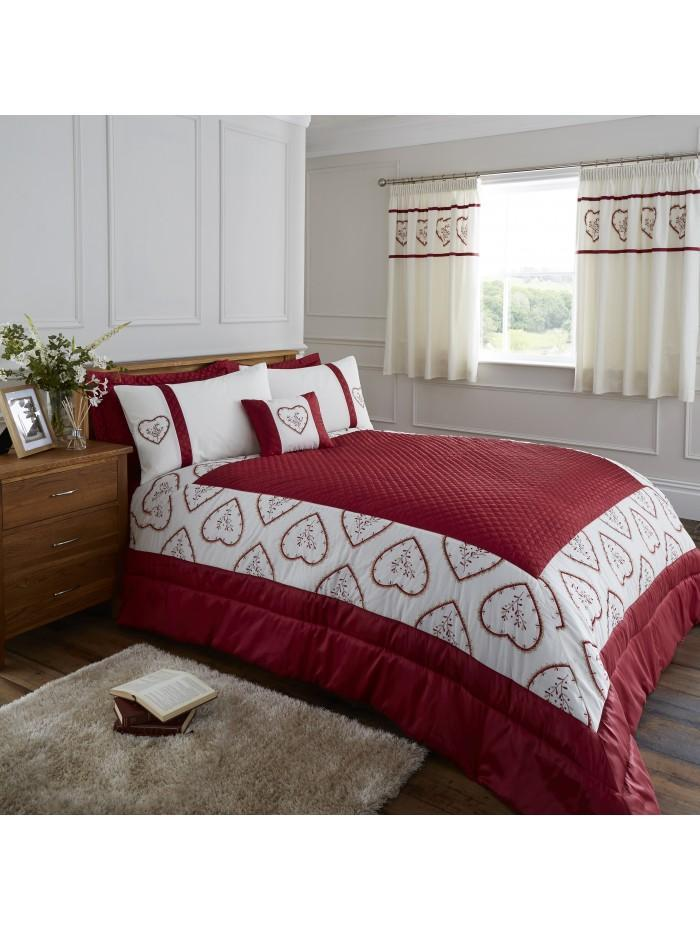 Heart Embroidered Panel Bedspread Red